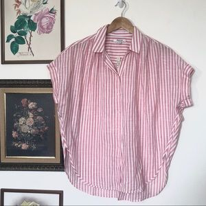 Madewell Central Tie Back Pink Rose Striped Top